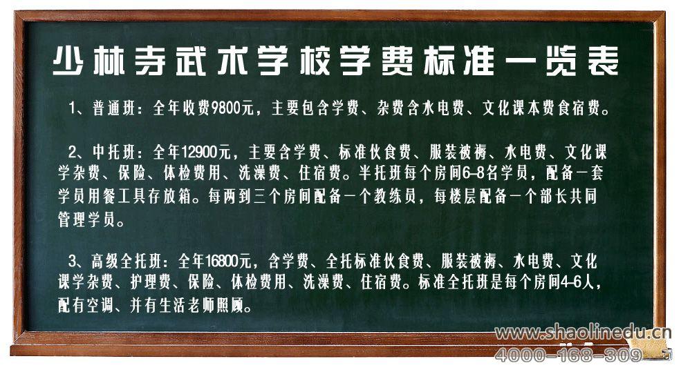 河南嵩山少林寺武术学院学费收取标准