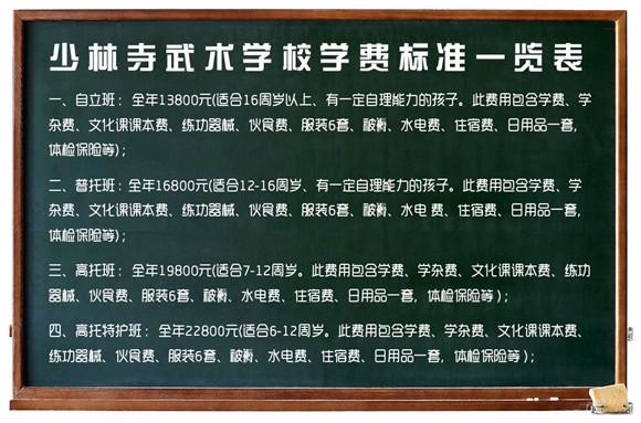 少林寺武校学费一览表