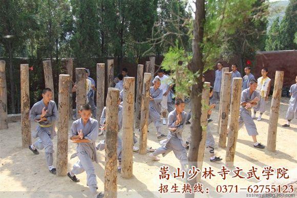河南嵩山少林寺武术学校学员打桩基本功
