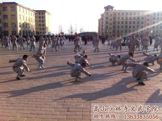 少林武术学校的学员在练武