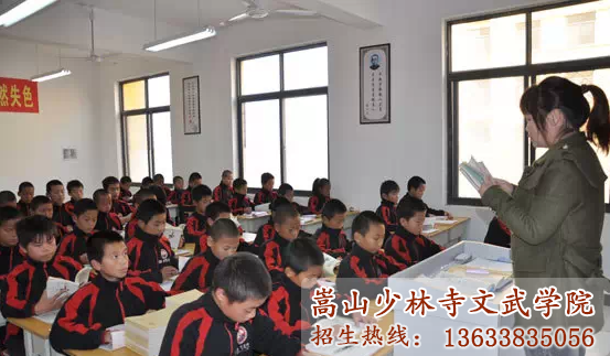 少林文武学校的学员在上课