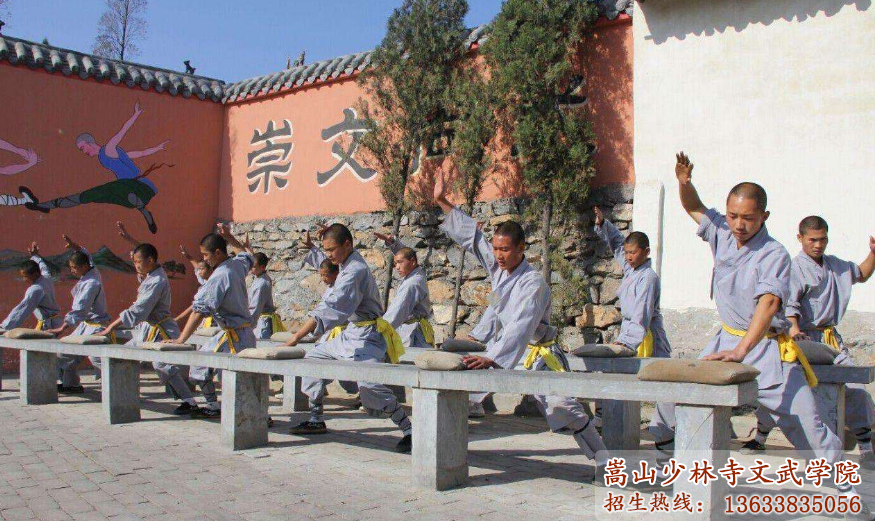 少林寺武校学员在练习少林铁砂掌