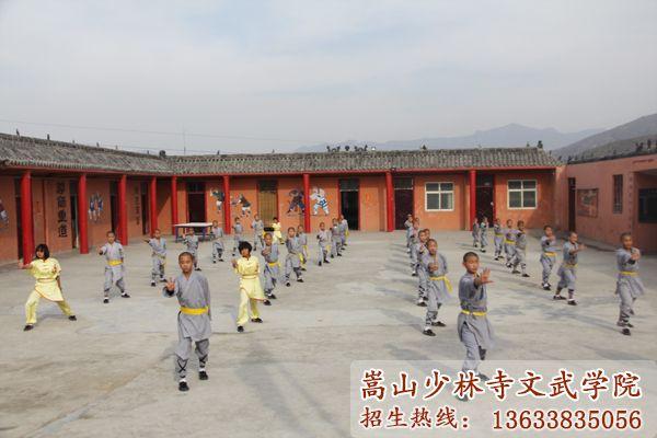 嵩山少林寺武术学校的学员在习武
