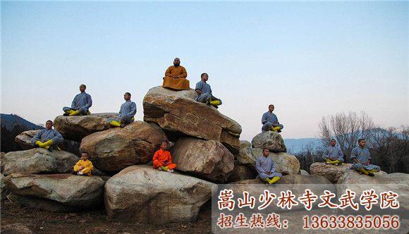 少林寺武校的武僧和学员们在台石上进行修禅