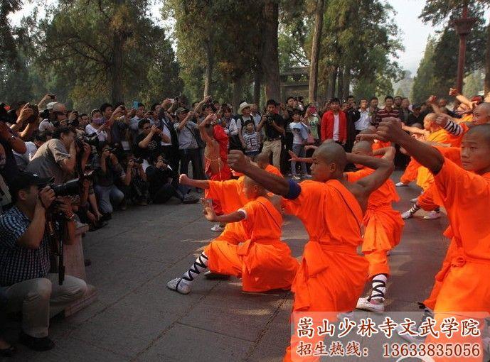 少林寺武校的学员在表演少林武术