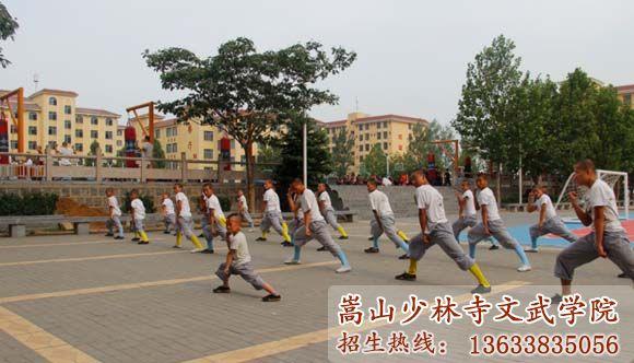 少林寺武术学校的学员在习武