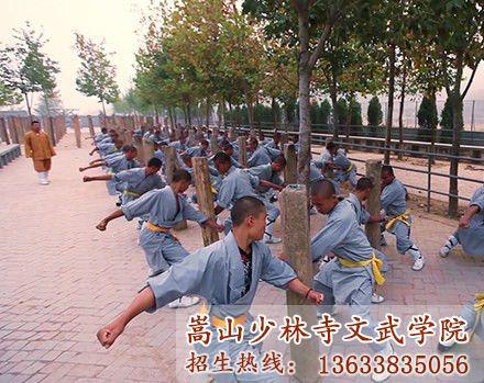 少林文武学校的学员在训练臂力