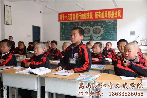 少林寺文武学校的学生在积极回答问题