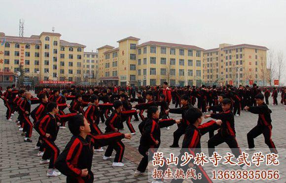 少林寺文武学校的学员在上武术课