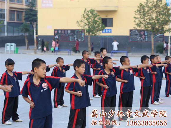 少林寺武校的学生在训练武术