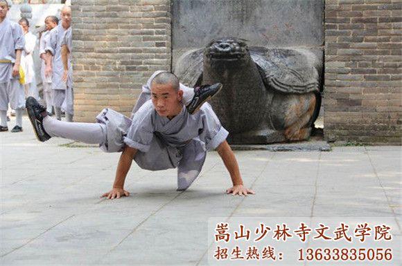嵩山少林寺武校的学员在习武训练