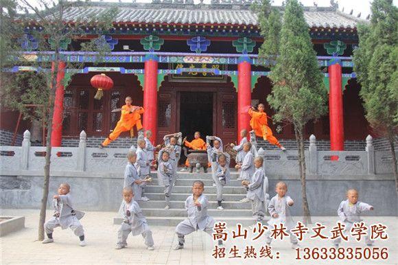 嵩山少林寺武校的学生在上武术课