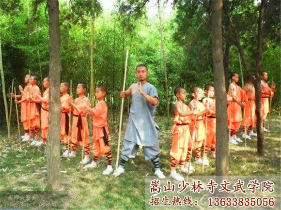 少林寺文武学校的学生在后山训练