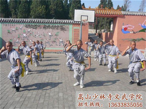 少林寺武术学校的学员在上武术课