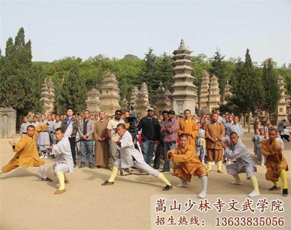 嵩山少林寺武校的学生在塔前习武训练