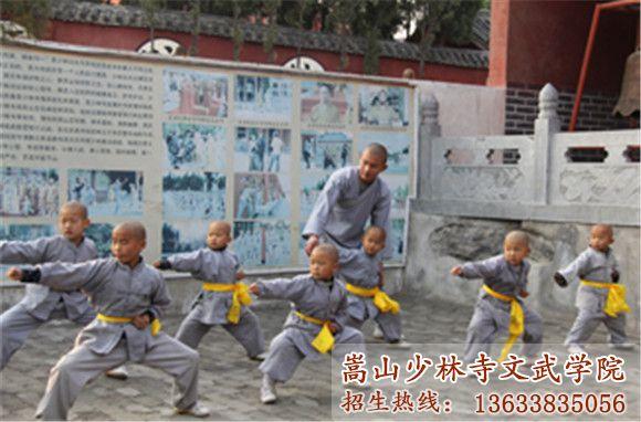 嵩山少林寺武校的教练在指导小学员武术
