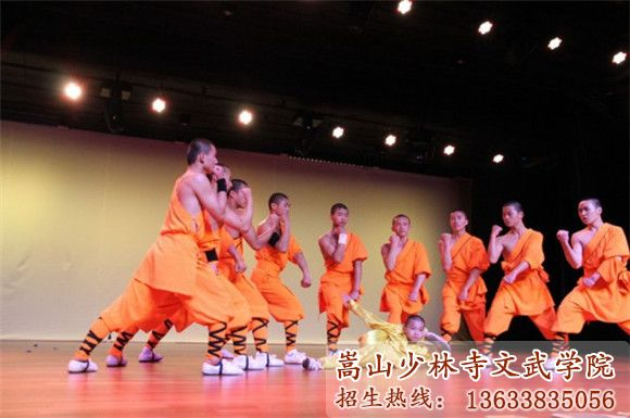 嵩山少林寺武校的学员在舞台上绽放光芒