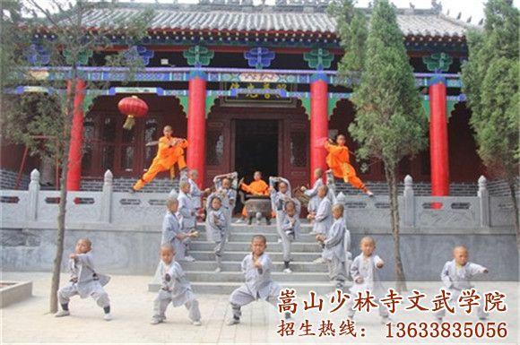 河南少林寺武校的学生在训练武术