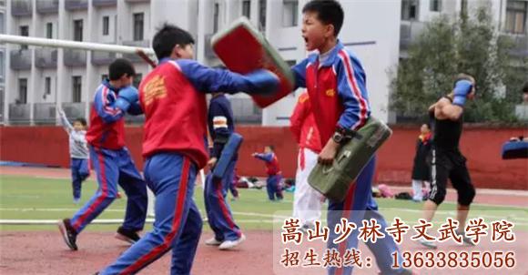 少林寺武术学校的学员在训练武术